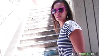 Hot latin Kelsi Monroe rides a chubby prick like a boss