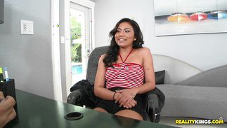 Sex appeal latin girl Issa Rose is delighted by her hunk's large meat bazooka