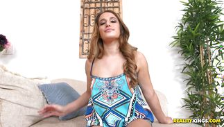 Lover stimulates love button of gorgeous Mila Marx pushing chunky slim jim in her taco