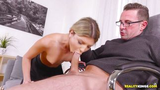 Foxy blond Gina Gerson yearns for man's fat rod so badly