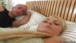 Charming blond playgirl Sandra Sanchez is giving a blowjob to a pussy tester who is not her husband