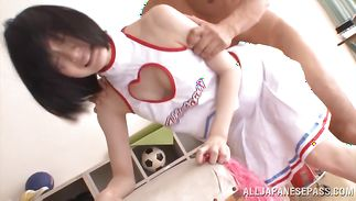 Experienced boy drills inviting Airi Suzumura's skinny fur pie with all his might